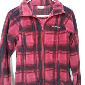 Columbia Plaid Pink & Black Fleece Zip Up S